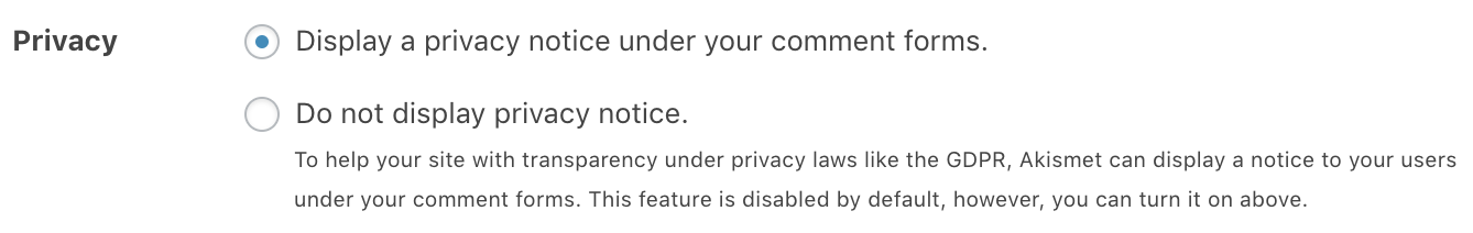 Plugin privacy notice setting screenshot.
